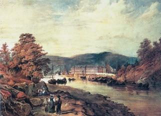 Dříve opatství Mettlach, dnes sídlo firmy na historickém obraze