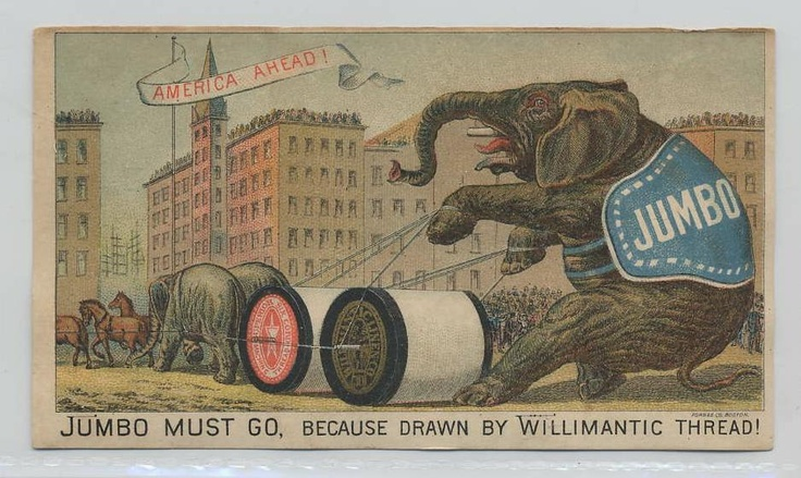 thread Advertising Trade card Jumbo elephant