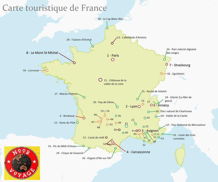 carte de la france détaillée touristique