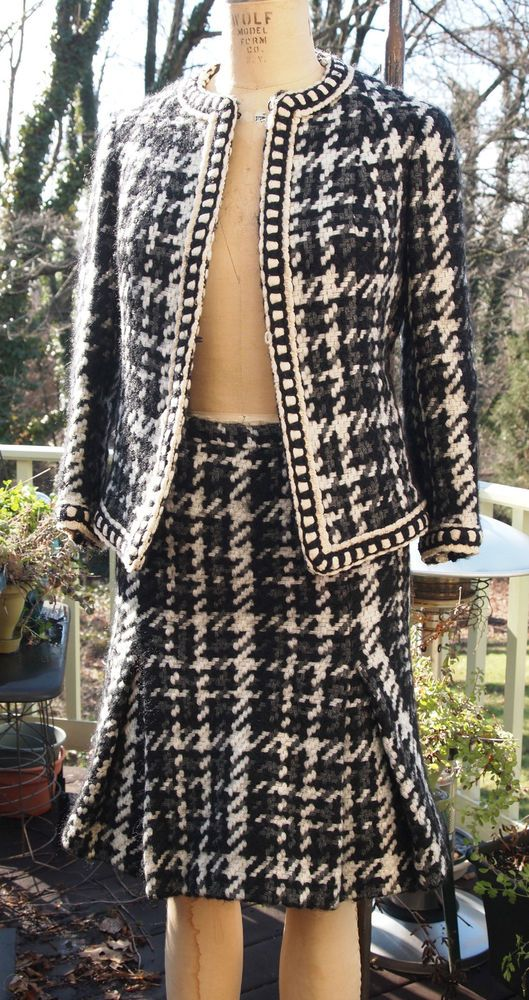 RARE Original Vintage Jacques Fath giant houndstooth wool suit #JacquesFath