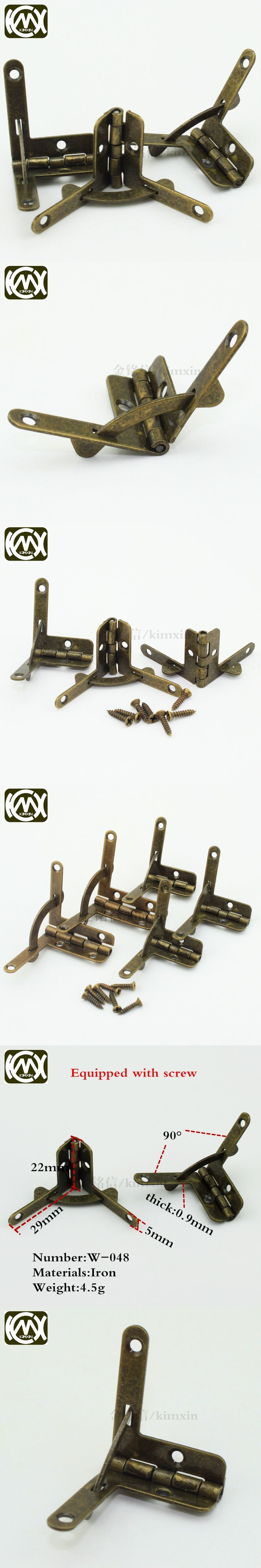 10pc/lot 22*29mm 90Degree antique brass wooden box hinge,packaging hardware hinge, factory direct high-grade hinge KIMXIN W-048
