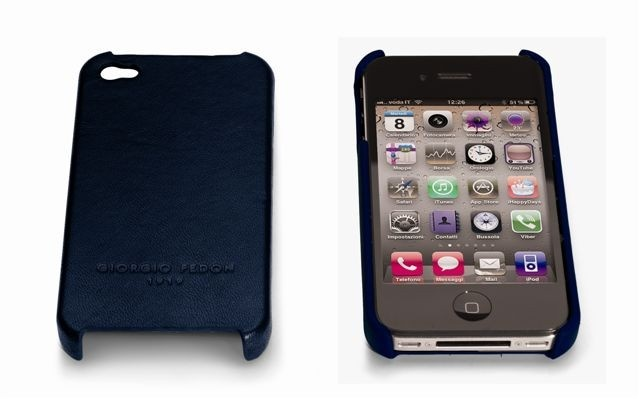 Iphone 4G  Hard Case In Navy Nappa Leather