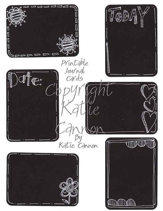 Doodled Journal Cards for Project Life, Project 365 Printable 3x4 Journal Cards set of six