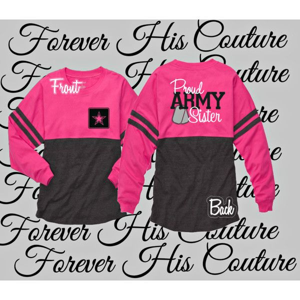 Army Sister Pom Pom Jersey Tee Army Girlfriend Army Wife Army Wife... ($37) ❤ liked on Polyvore featuring tops, t-shirts, black, women's clothing, vinyl t shirt, army t shirt, vinyl top, star tee and jersey top