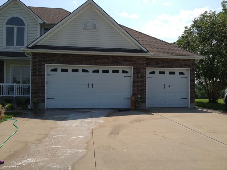 Diy carriage garage doors hardware from home depot and vinyl sticker faux windows