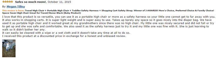 Amazon Review - Safe so much room! #yochiyochi #portablehighchair #travelhighchair #travelbaby
