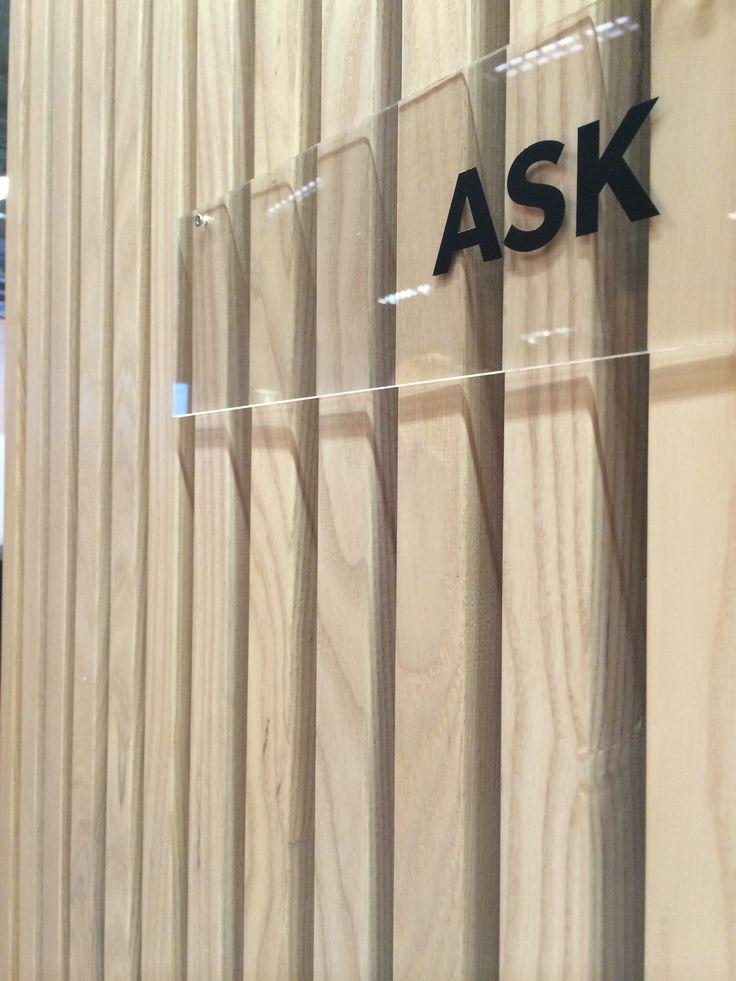 Trä & Teknik Gothenburg 2014. Ash stud construction, acoustic wall.