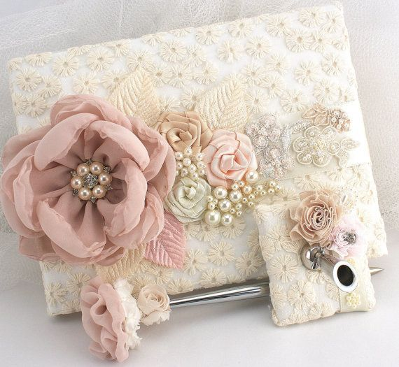 Coral Champagne and White Wedding Guest Book by NellieKatzDesigns, $60…