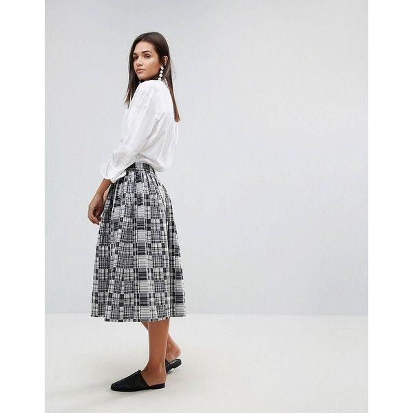 YMC Patchwork Midi Skirt ($150) ❤ liked on Polyvore featuring skirts, grey, gray midi skirt, patchwork skirts, grey cotton skirt, grey midi skirt and checkered skirt