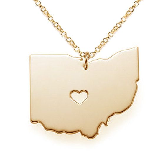 Ohio Map State CharmOhio State NecklaceOH by MonogramNecklace2014