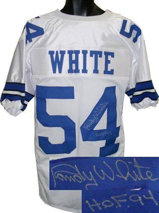 Randy White signed Dallas Cowboys White Prostyle Jersey HOF 94 . $270.18. Randy White was drafted by the Dallas Cowboys in 1975. In 1977 he was named to his first All-Pro team, his first Pro Bowl, and was named co-MVP of Super Bowl XII with teammate Harvey Martin, making him one of only seven defensive players to win that honor. He would continue that success, being named to nine consecutive All-Pro and Pro Bowl teams. During his 14 years, he played in three Super Bowls...