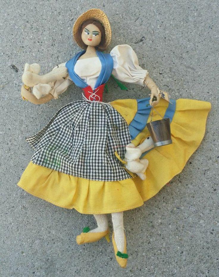 "Vintage 1950's Layna? Klumpe? Roldan? Cloth Doll ""Farm Hand"" made in Spain."