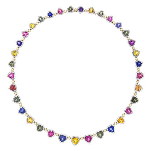 Spark Creations - N 19281-FS 04.15 CT DIAMOND 30.19 CT FANCY SAPPHIRE NECKLACE