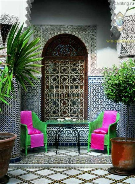 colorful chairs and small table for relaxation