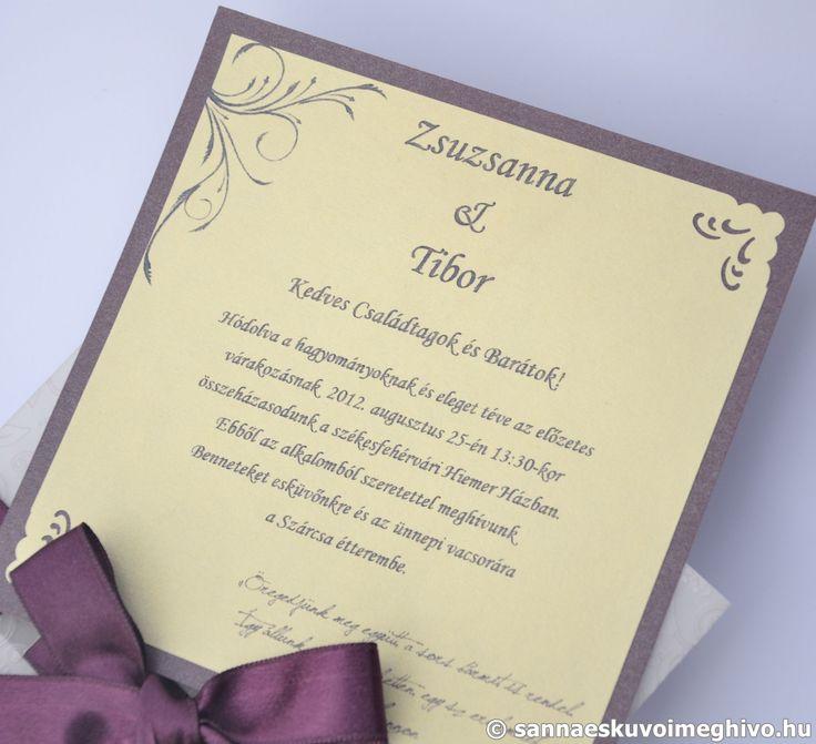Lila rózsa esküvői meghívó, meghívó, lila esküvői meghívó, szalagos esküvői meghívó, sannaeskuvoimeghivo, egyedi esküvői meghívó, wedding card
