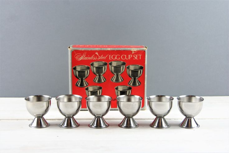 Vintage Egg Cups, 6 Stainless Steel Egg Cups in Original Box, Retro Egg Cup Set, Easter Gift, Housewarming Gift. 1970's Kitchen. http://etsy.me/2DI2T5l #housewares #serving #silver #metal #eggcupset #eggholder #sta