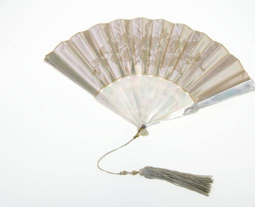 1816 Fan of mother-of-pearl frame covered with off white satin weave silk.: Face, Satin Weave Silk, White Satin, Frames, Fans, Costume, Mother Of Pearl Frame, Satin Weaves