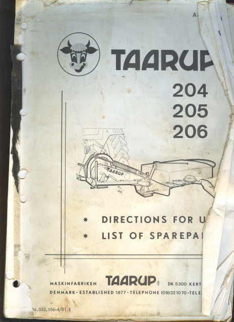 Taarup 204, 205, 206, Disc mower operators, parts ...