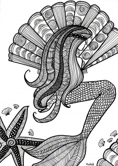 free coloring page for adults mermaid with shells kleurplaat voor volwassenen gratis