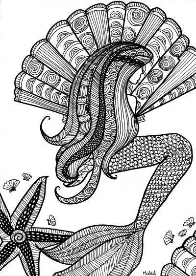 Free coloring page for adults. Mermaid with shells. Kleurplaat voor volwassenen. Gratis. Zeemeermin.
