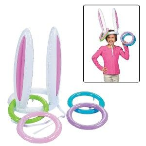 Inflatable Easter Bunny Ears Rabbit hat Ring Toss party Game You will need an air pump to inflate these. Doing it by mouth would seriously take all day and tons of hot air. Good additive for Easter festivities. http://awsomegadgetsandtoysforgirlsandboys.com/creative-easter-basket-ideas/ Inflatable Easter Bunny Ears Rabbit hat Ring Toss party Game