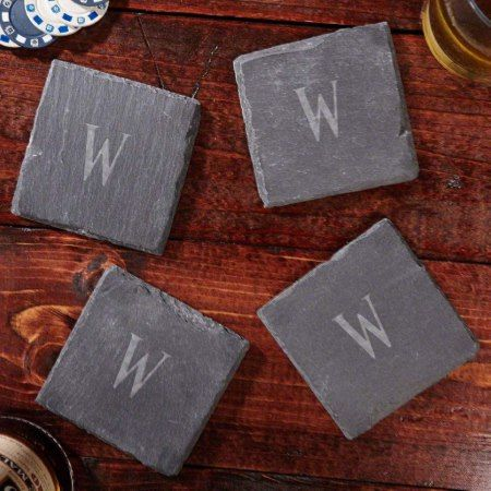 Franklin Personalized Slate Coasters, Set of 4 - tap to personalize and get yours