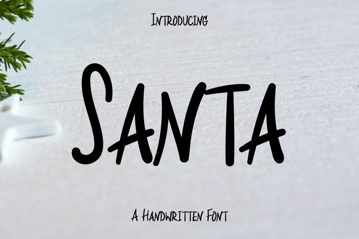 Santa Text Font Hand Lettering Handwriting Otf Ttf Round Handcrafted Friendly