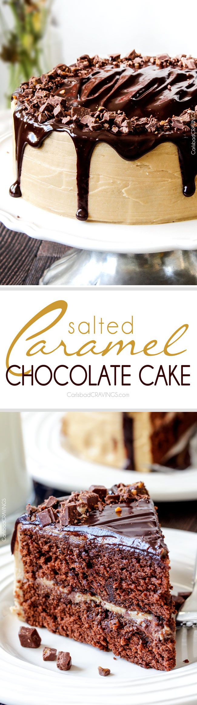 so addicting!!  Chocolate Cake, busting with milk chocolate toffee bits, coated in Caramel Icing and smothered in silky chocolate ganache. THE only chocolate cake recipe you need!