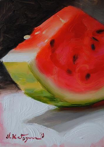 """""""Watermelon"""" - Original Fine Art for Sale - © Elena Katsyura"""
