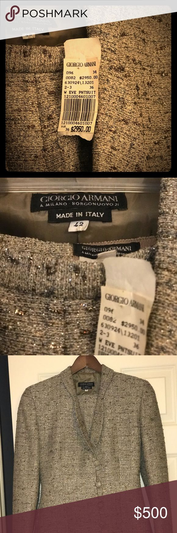 Authentic Giorgio Armani Women's Pants Suit Beautiful fabric! A sophisticated look that will give you complaints. The fabric blends are amazing neutral, gold, bronze and sliver colors. A few areas of discoloration worn on fabric. Recommend keeping suit in a garment bag. Giorgio Armani Jackets & Coats Blazers