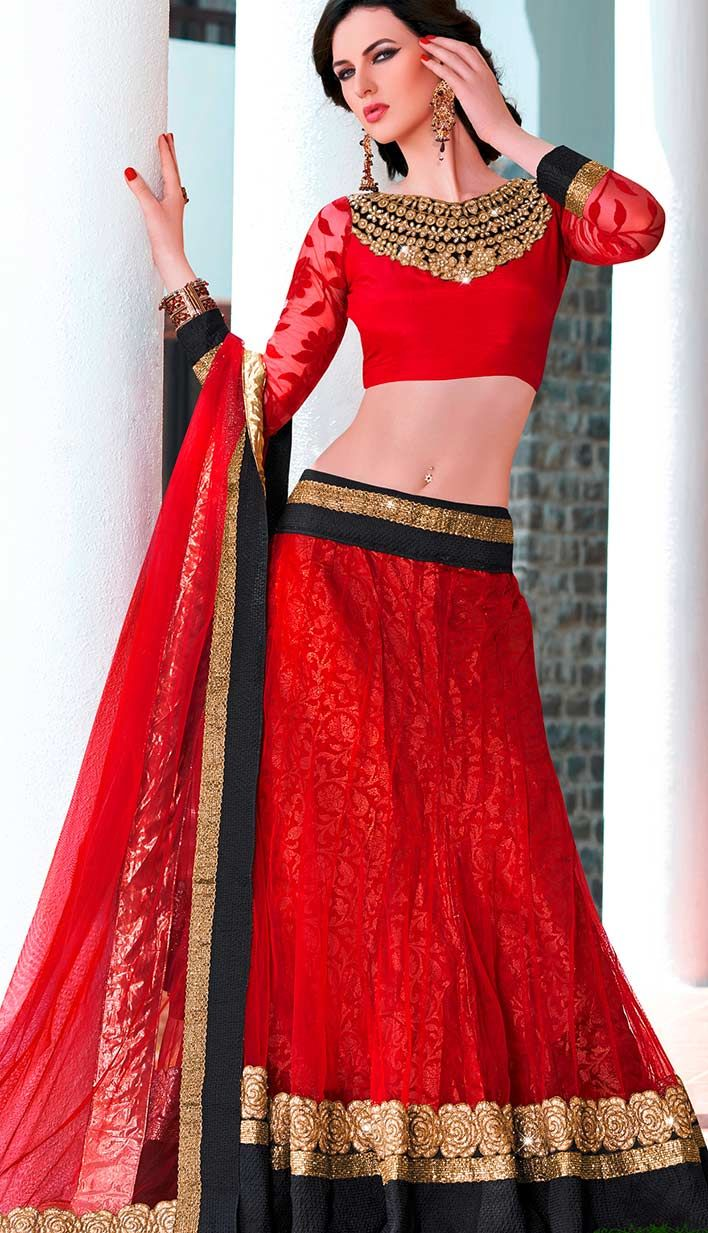 Get Beautiful Traditional Red Nett Georgette #Lehenga #Choli Product code: KBL-36941 Price INR 7969 (Unstitch Blouse), Color: Red Shop Online now: http://www.efello.co/Bridal_Beautiful-Traditional-Red-Nett-Georgette-Lehenga-Choli_35334