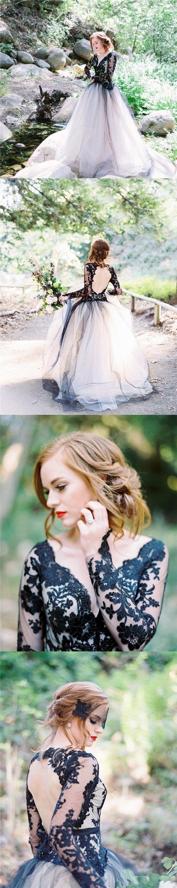 Charming Black Lace Newest Elegant Fashion Prom Dress, Custom Long Sleeves Open Back Wedding Dress, PD0393