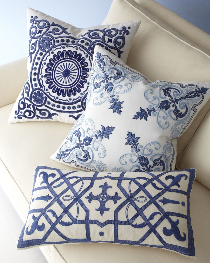 Blue and  white pillows.  How many are too many?  Because I want these also.  Patti Montgomery,  My Traditional Home