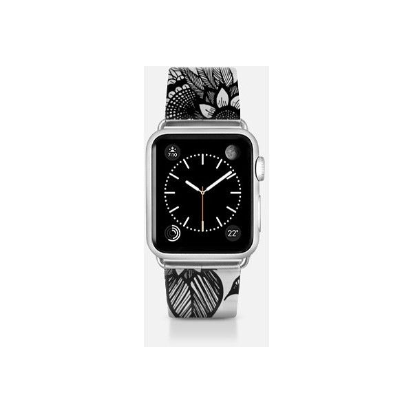 Apple Watch Band - Pretty Black Floral Outline Drawings- Transparent ($70) ❤ liked on Polyvore featuring jewelry, watches, apple watch band, transparent watches, floral watches, floral jewelry and see through watches
