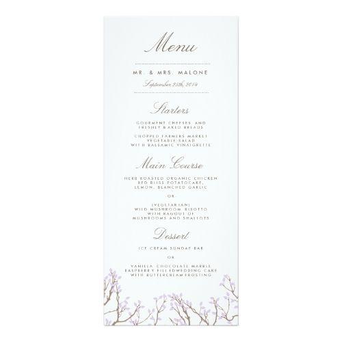 Purple Wedding Menu Blissful Branches Wedding Dinner Menu Card