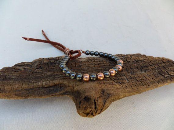 Hematite and Copper Bracelet, Boho Bracelet, Stacking Bracelet, Yoga Bracelet, Hematite Bracelet, Copper Bracelet, ColeTaylorDesigns