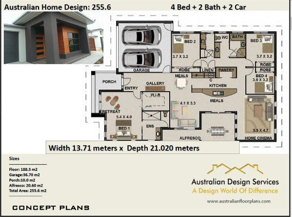 255 6 M2 Modern 4 Bedroom Concept House Plans Modern House Etsy Brick House Plans House Plans Australia House Plans For Sale