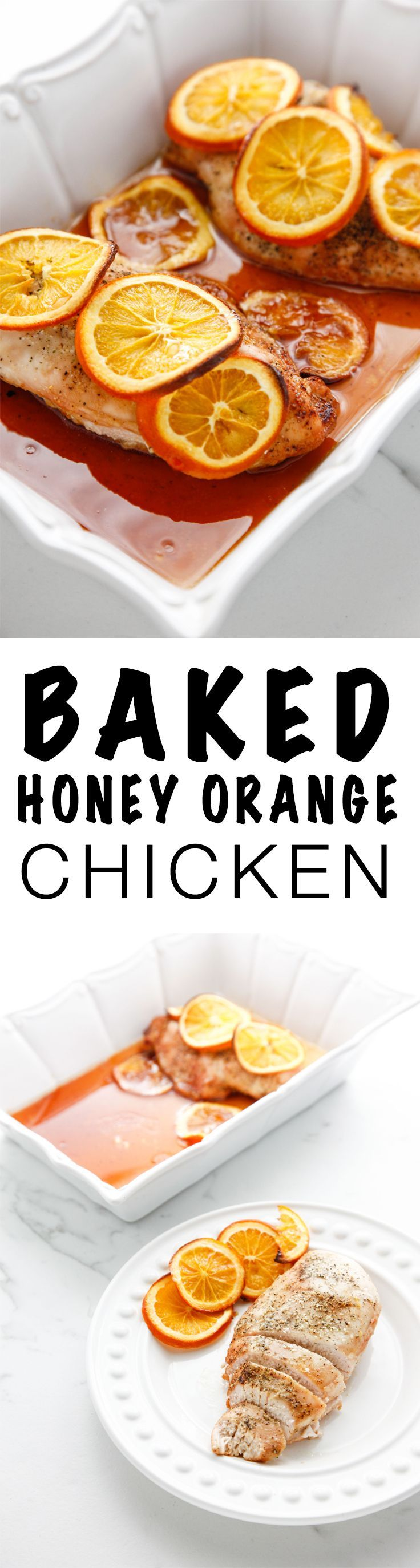 Need to make a classic meal new and exciting? This Baked Honey Orange Chicken recipe is both delicious and an easy dinner via @thebrooklyncook