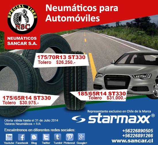 Ofertas Insuperables Neumáticos  STARMAXX para Automóviles  www.sancar.cl – ventas@sancar.cl - Antillanca 560 módulo 5 Lo Boza Pudahuel - Teléfono +56226890505 | Bascuñán Guerrero 540 Santiago - Teléfono +56226891266