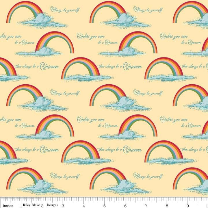 Riley Blake - Unicorns & Rainbows Poster Yellow - cotton fabric