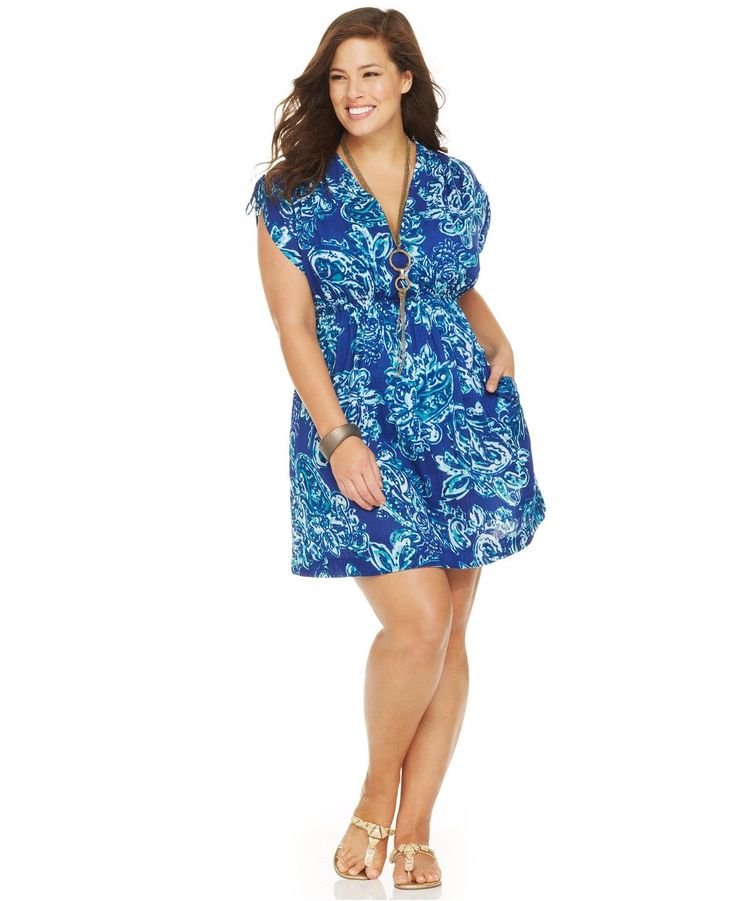 Lauren Ralph Lauren Plus Size Printed Tunic Cover Up Lagoon 2X at Amazon Women\u0026#39;s Clothing store