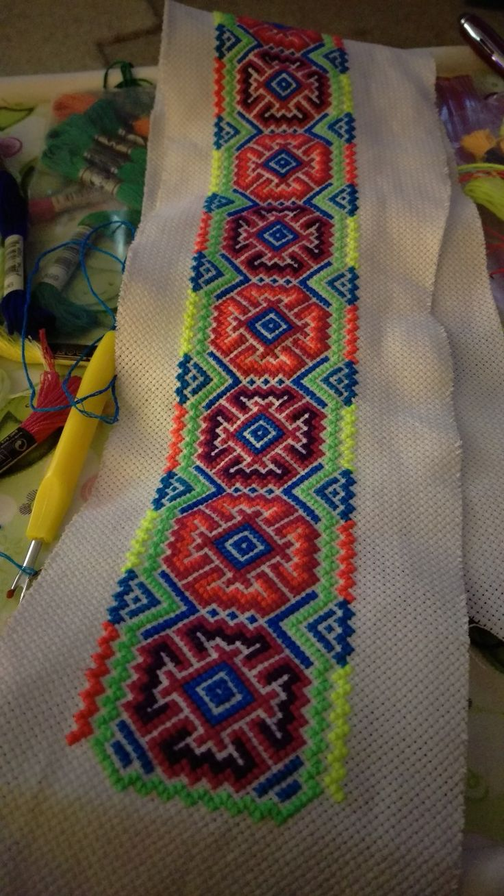 Colourful cross stitch textile from someone...thanks