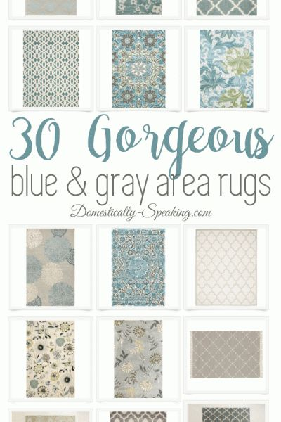 Blue and Gray Large Area Rugs