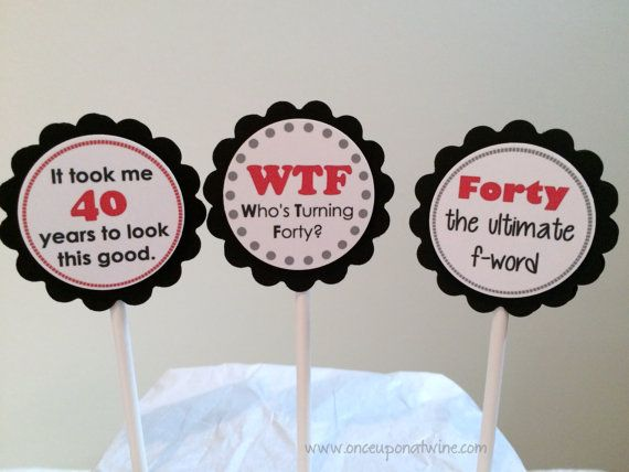 40th BIRTHDAY Cupcake Toppers Over the Hill by OnceUponATwineDesign