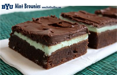 BYU mint brownies - I think I have this recipe somewhere already but it never hurts to be safe!