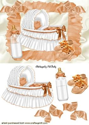 BABY GIRLS PEACH BASSINET WITH BABY BOTTLE on Craftsuprint - Add To Basket!