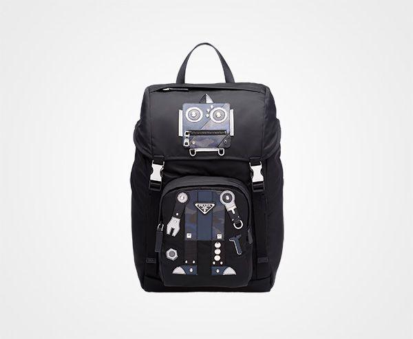 65278b2abd5 Technical fabric and Saffiano leather backpack BLACK+BALTIC BLUE Prada