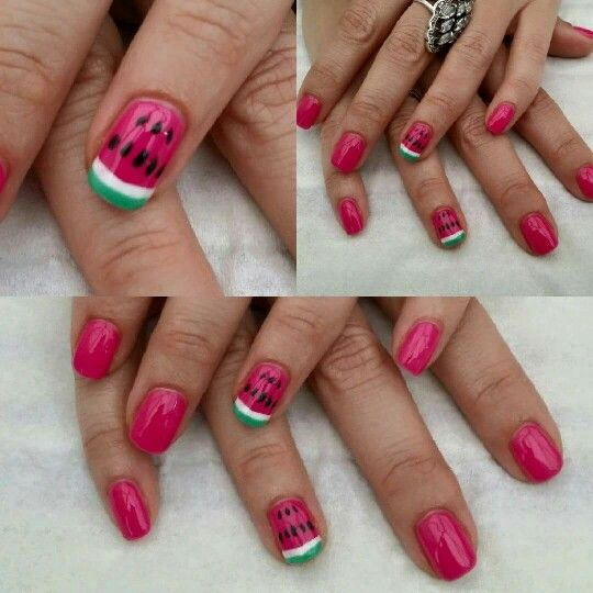 My pink watermelon nails... Beautiful! By catesnails