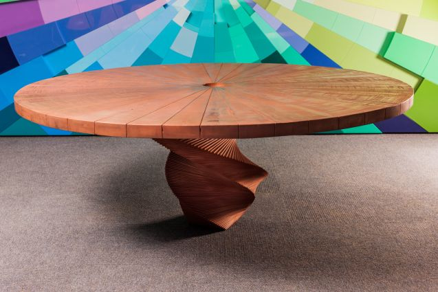 Copper plated sawn timber table.