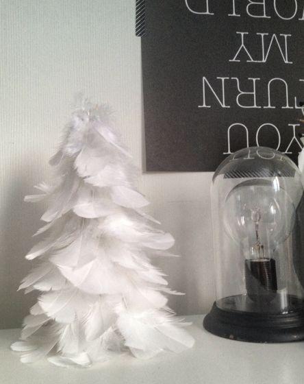 Edlund design: Julgran utav fjädrar, Rulla ihop en strut av tjockare papper och limma på fjädrar nerifrån och upp!
